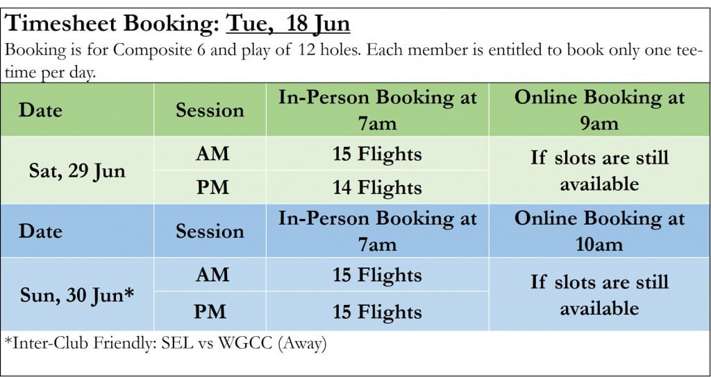 Golf Booking Timesheet 18 Jun