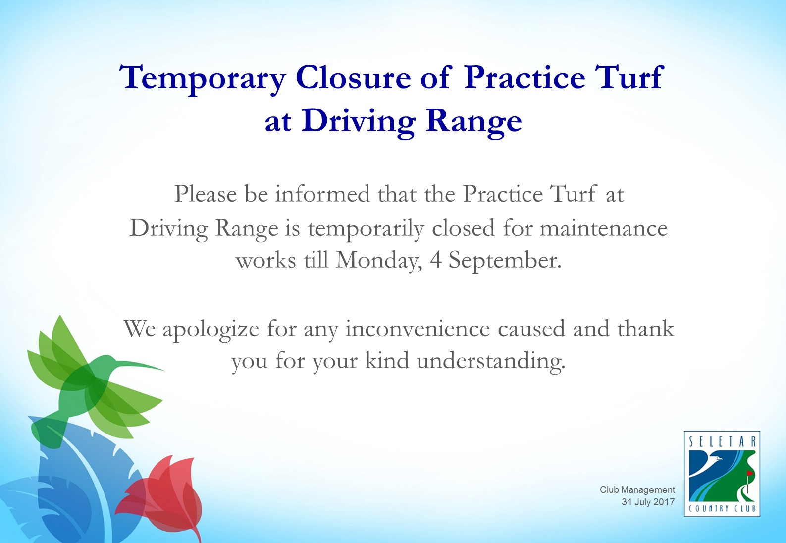 Temporary Closure of Practice Turf at Driving Range_R1