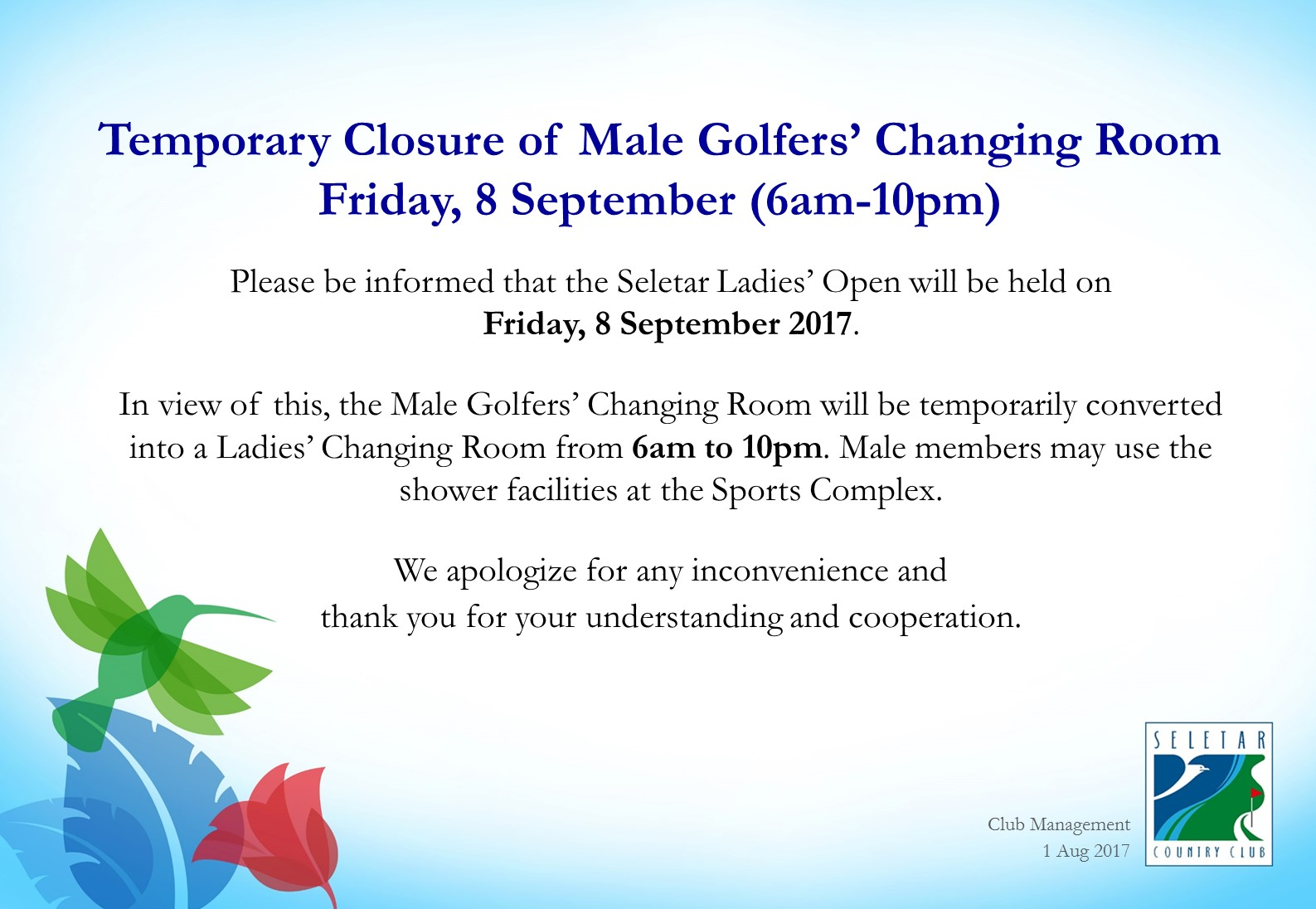 Temporary closure of Men Golfers' Changing Room