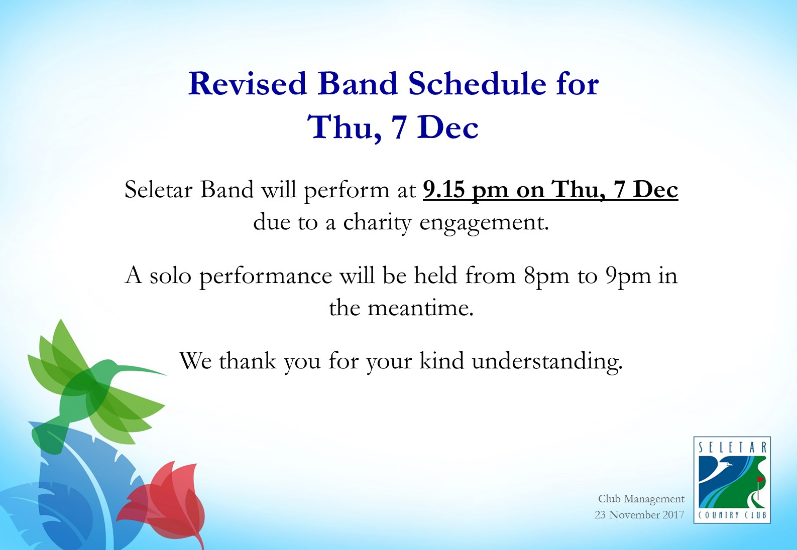 Seletar Band_Change of Timing