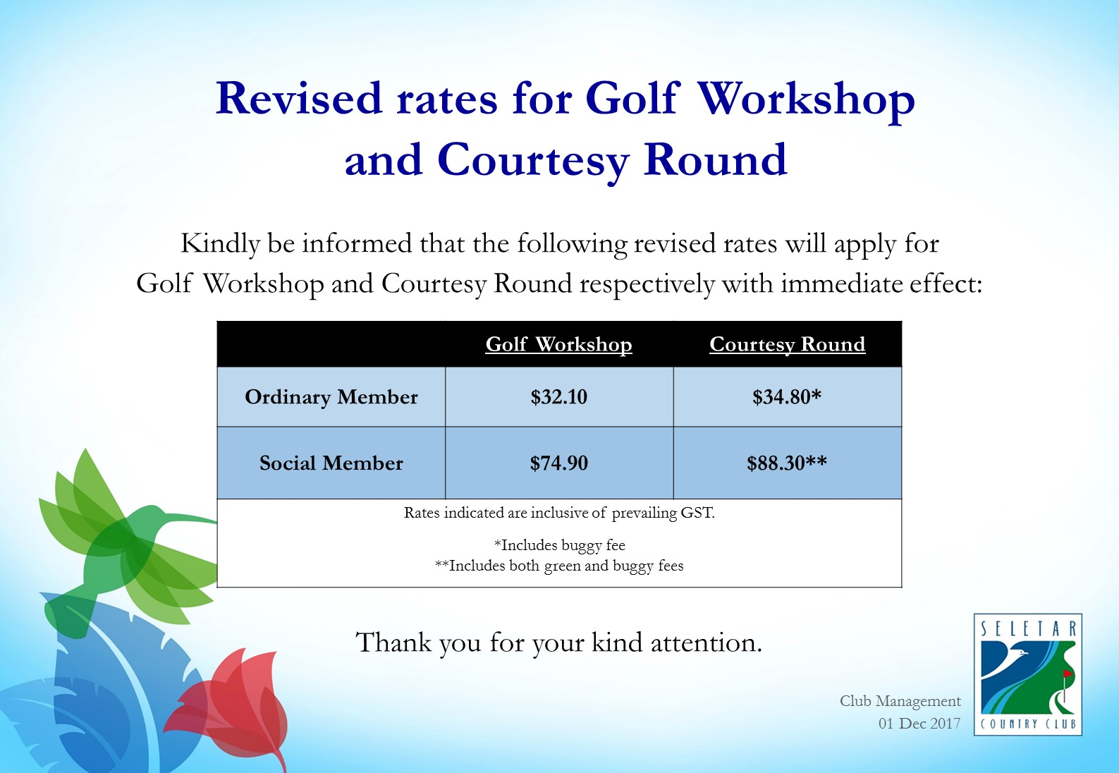 Revised rates for golf workshop and courtesy round_R2
