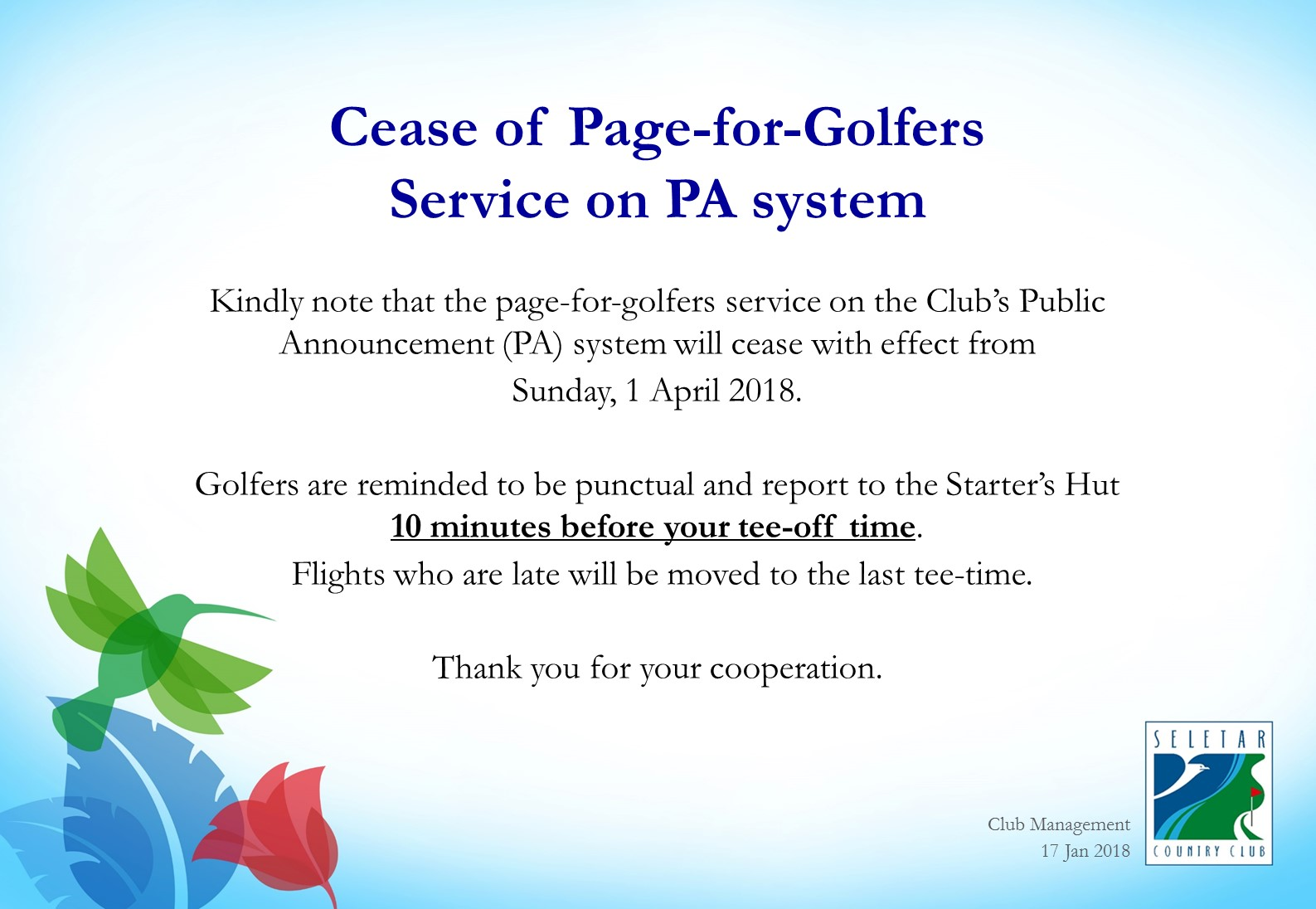 Cease of Paging for Golfers Service_V2