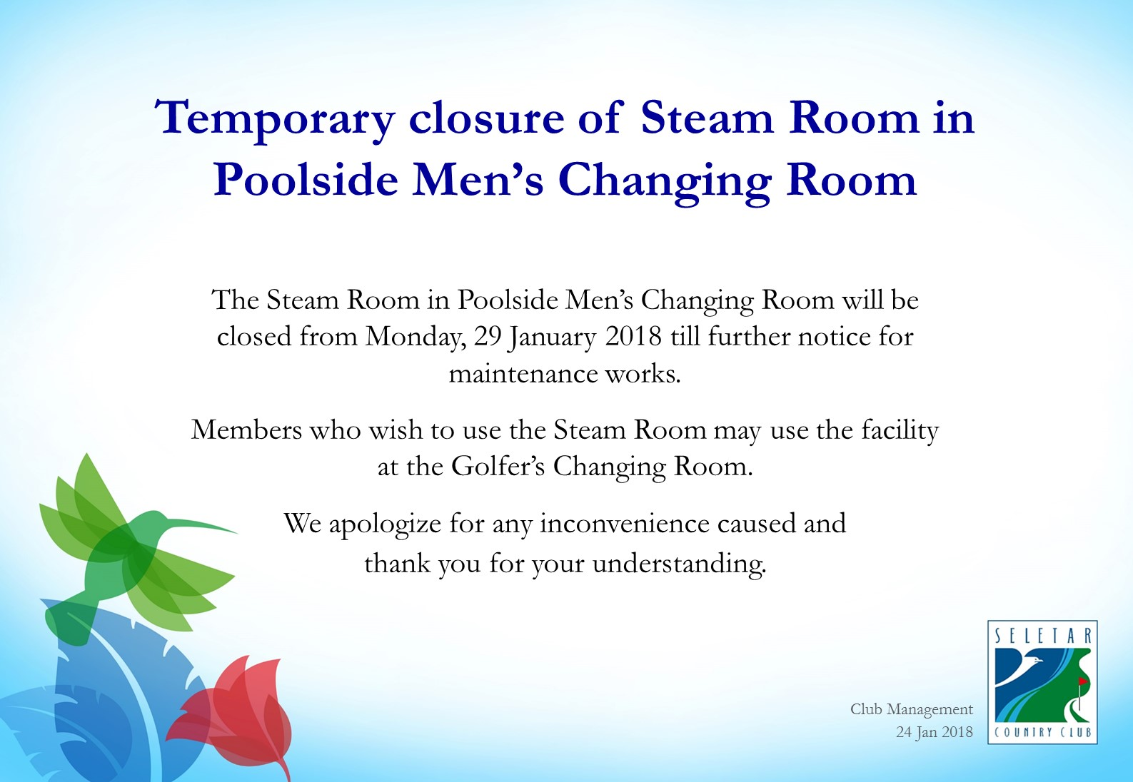 Temporary closure of Steam Room in Men's Poolside Changing Room