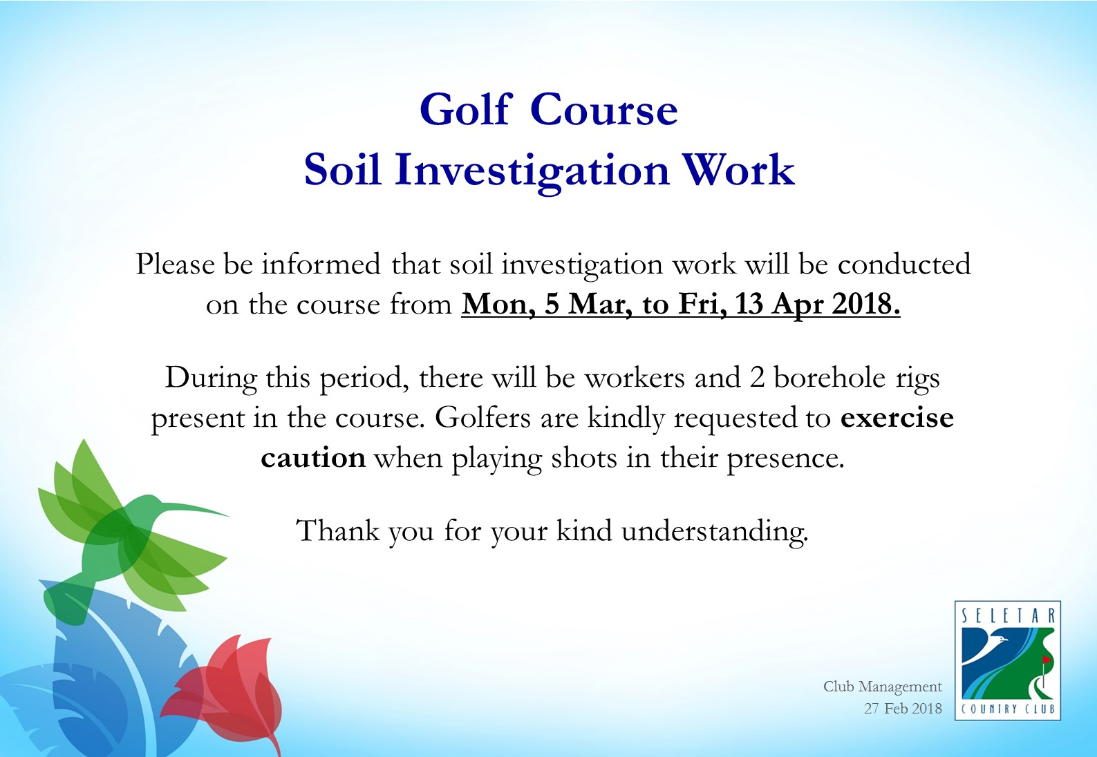 Notice_Exercise caution_soil investigation works