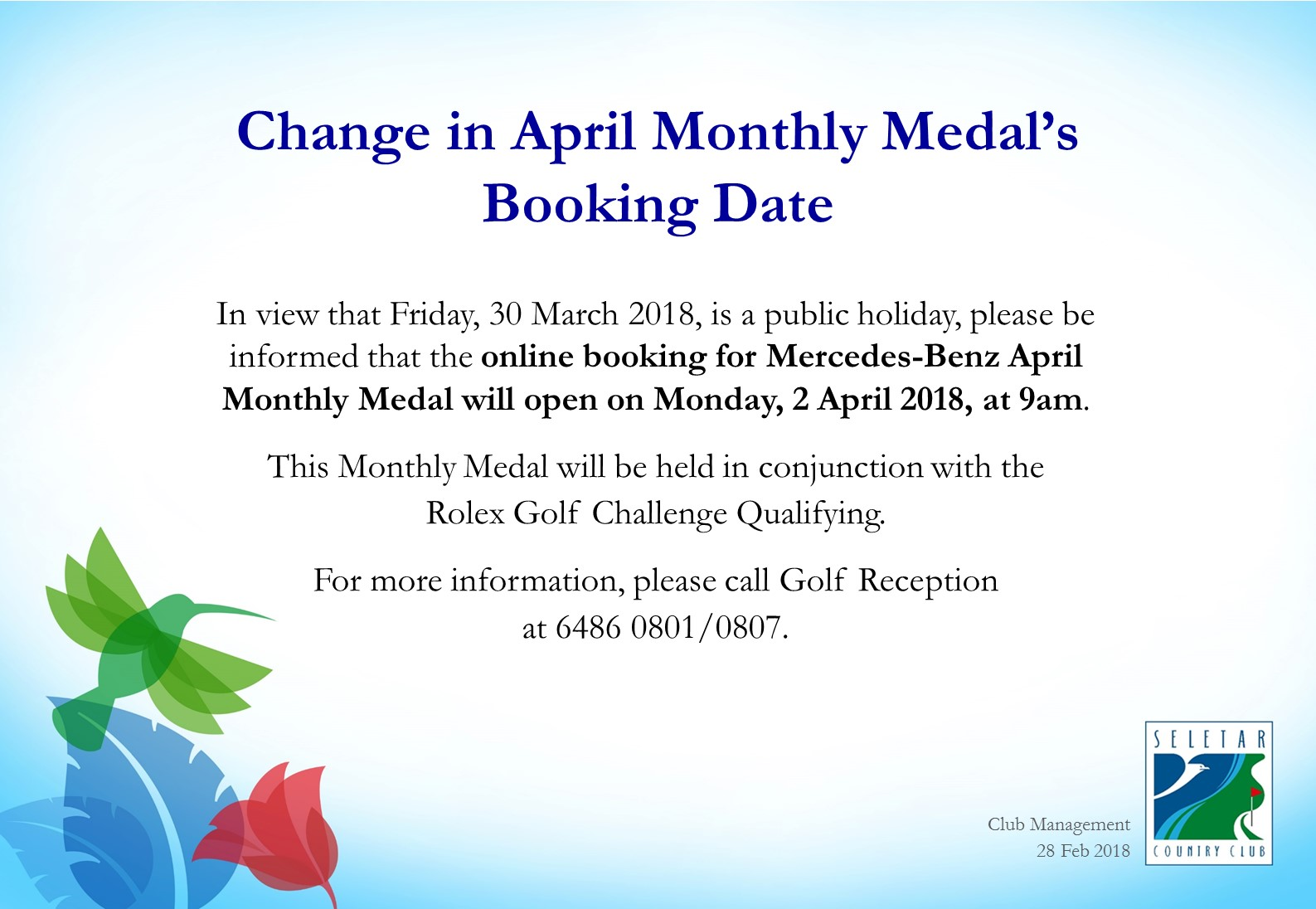 Change in April Monthly Medal's Booking Date
