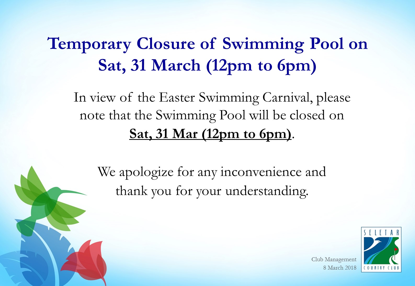 Temporary Closure of Swimming Pool