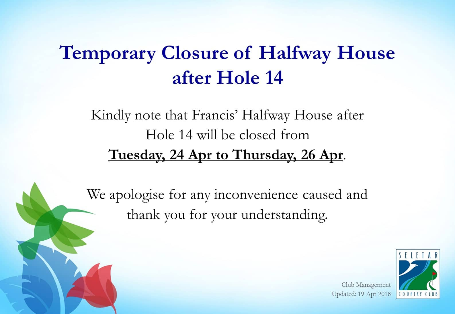 Closure of Francis Halfway House - 24 - 26 Apr (updated)
