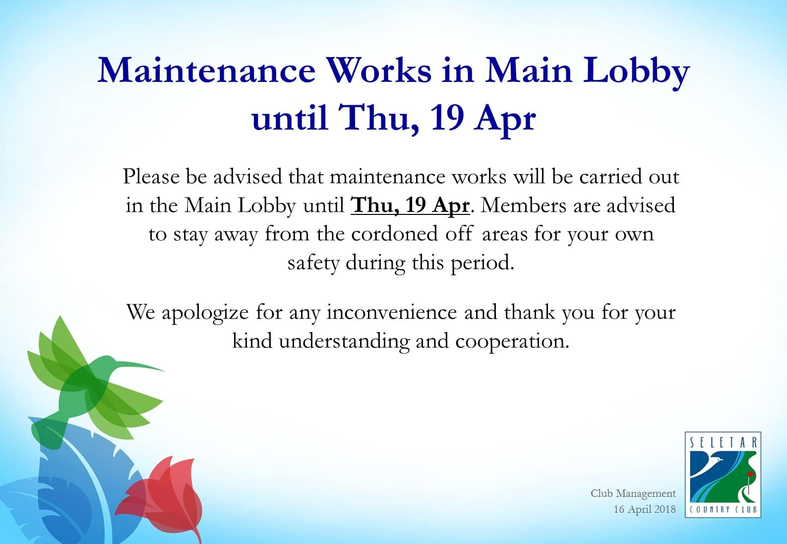 Maintenance Works in Main Lobby