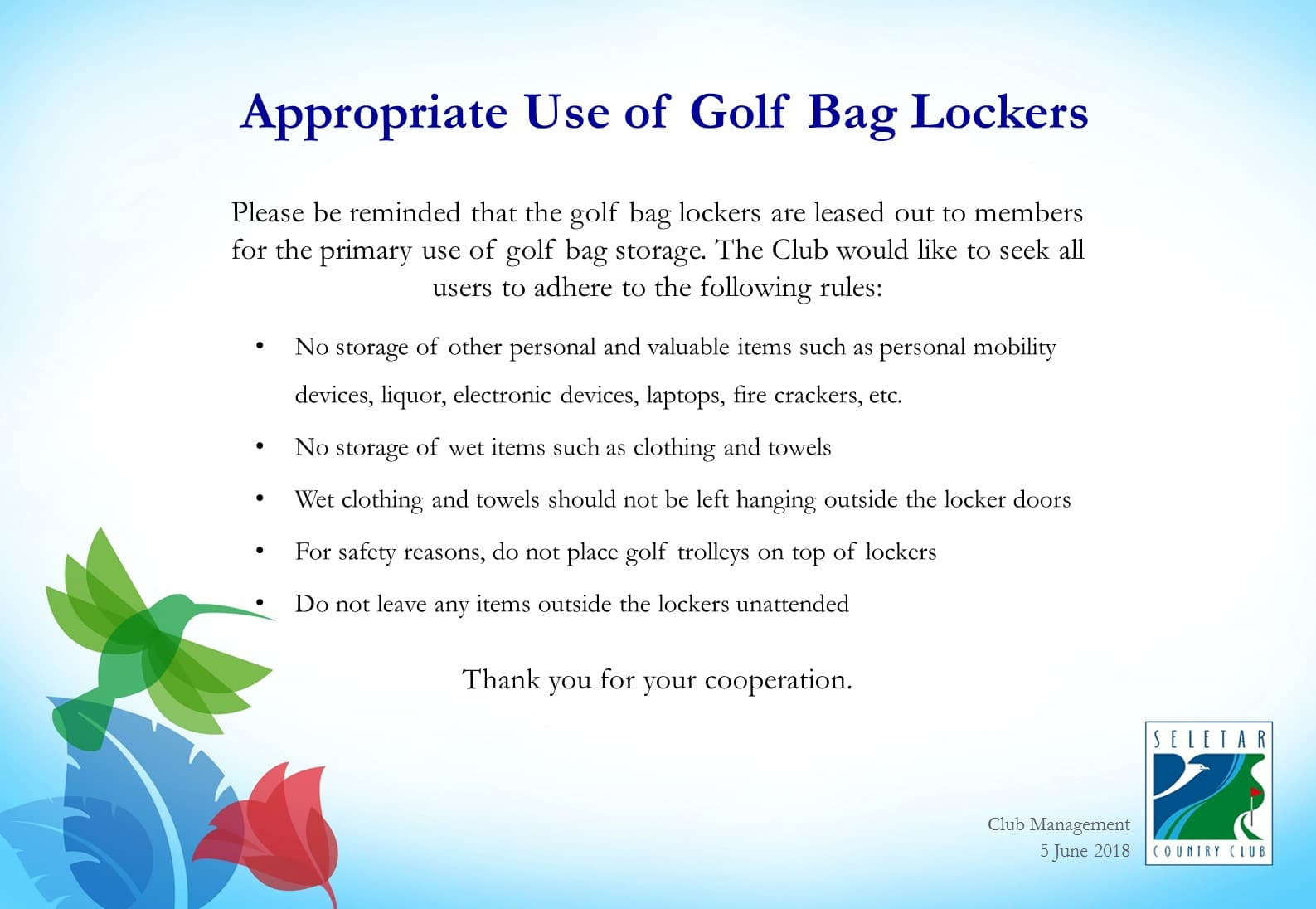 Appropriate use of Golf bag lockers