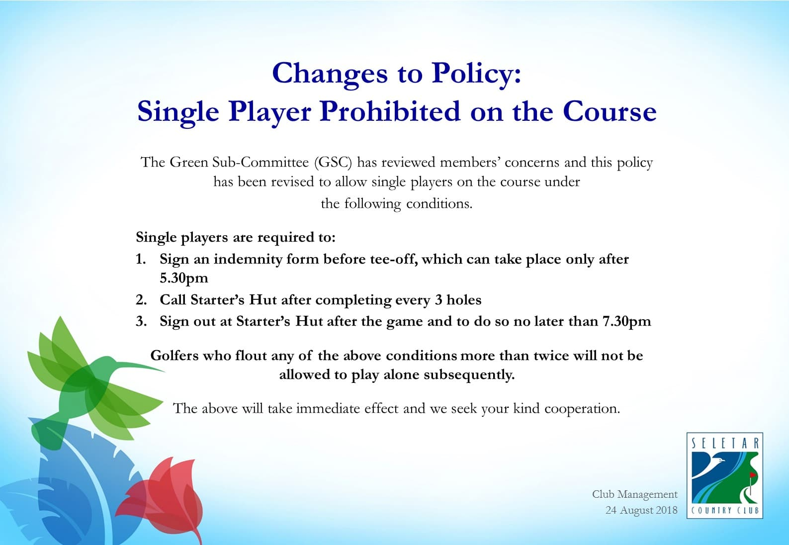 Single Player Policy_Revised
