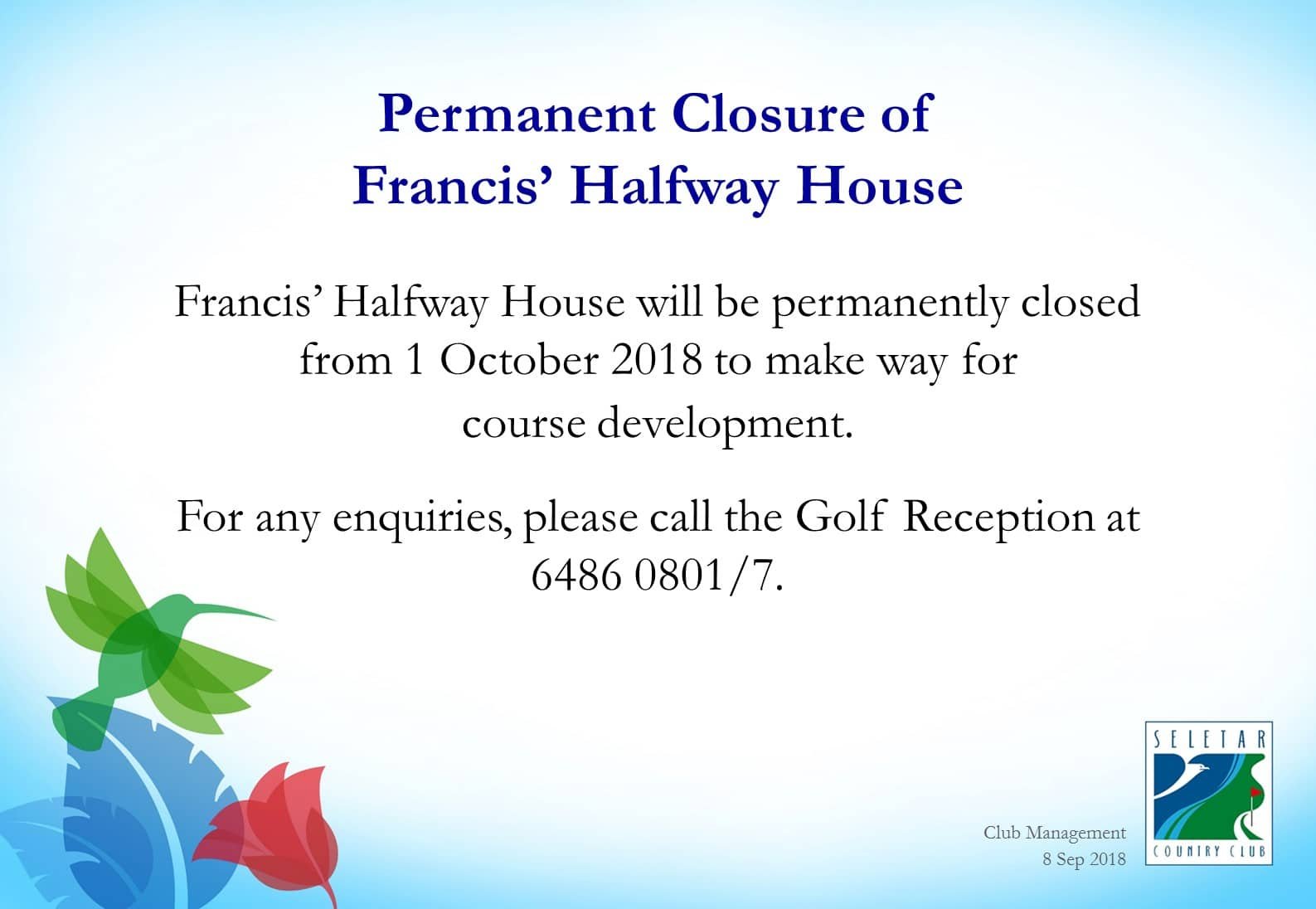 Permanent closure of francis halfway house_R1