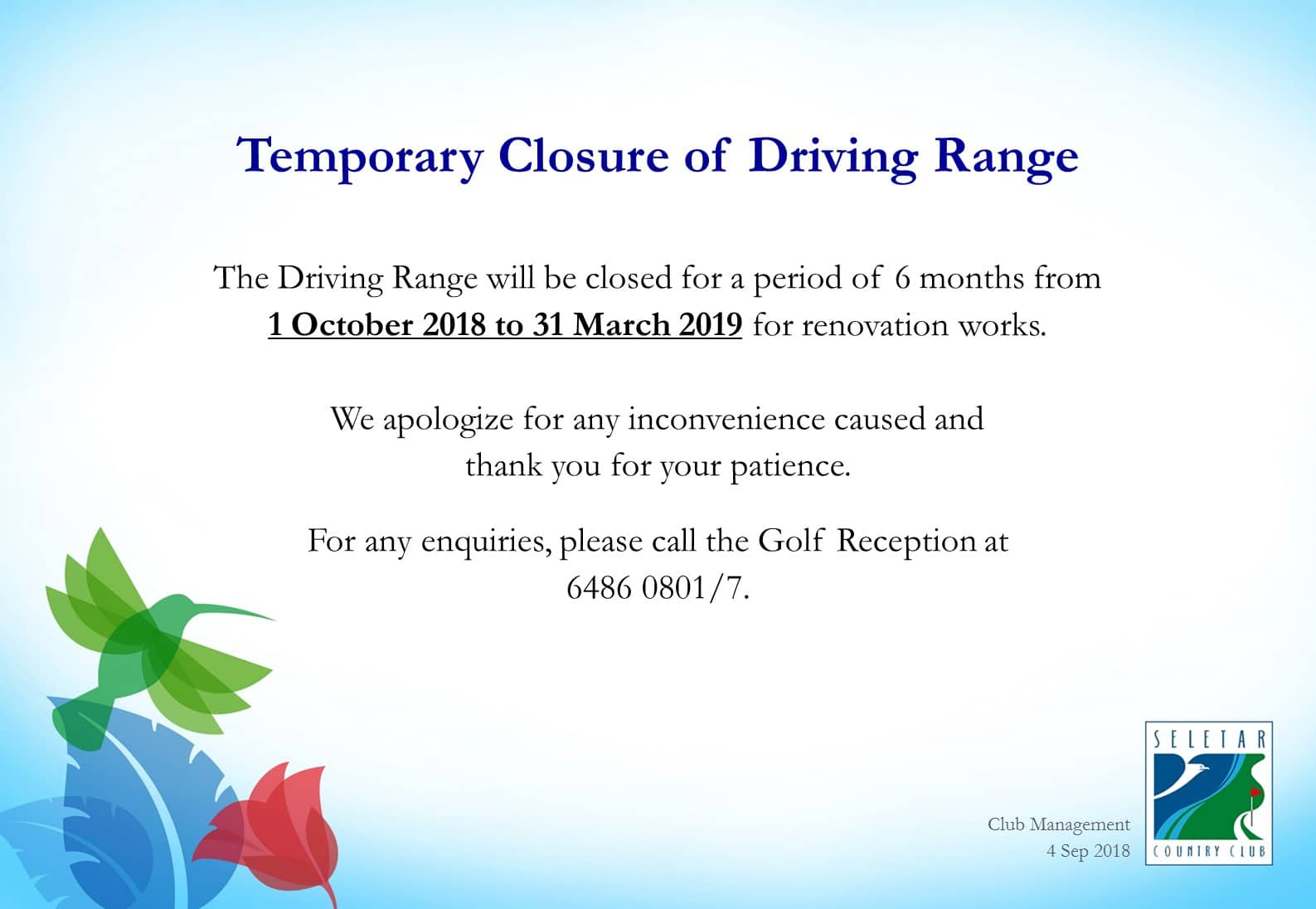 Temporary closure of Driving Range_RENO