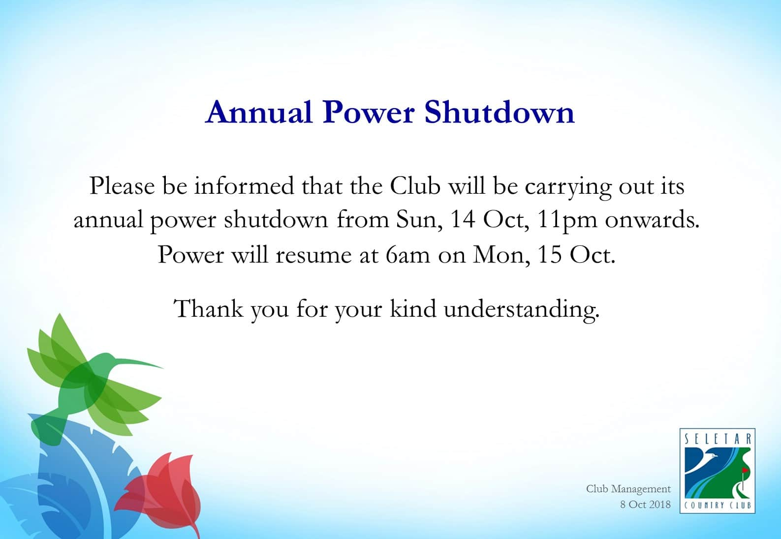 Annual Power Shutdown