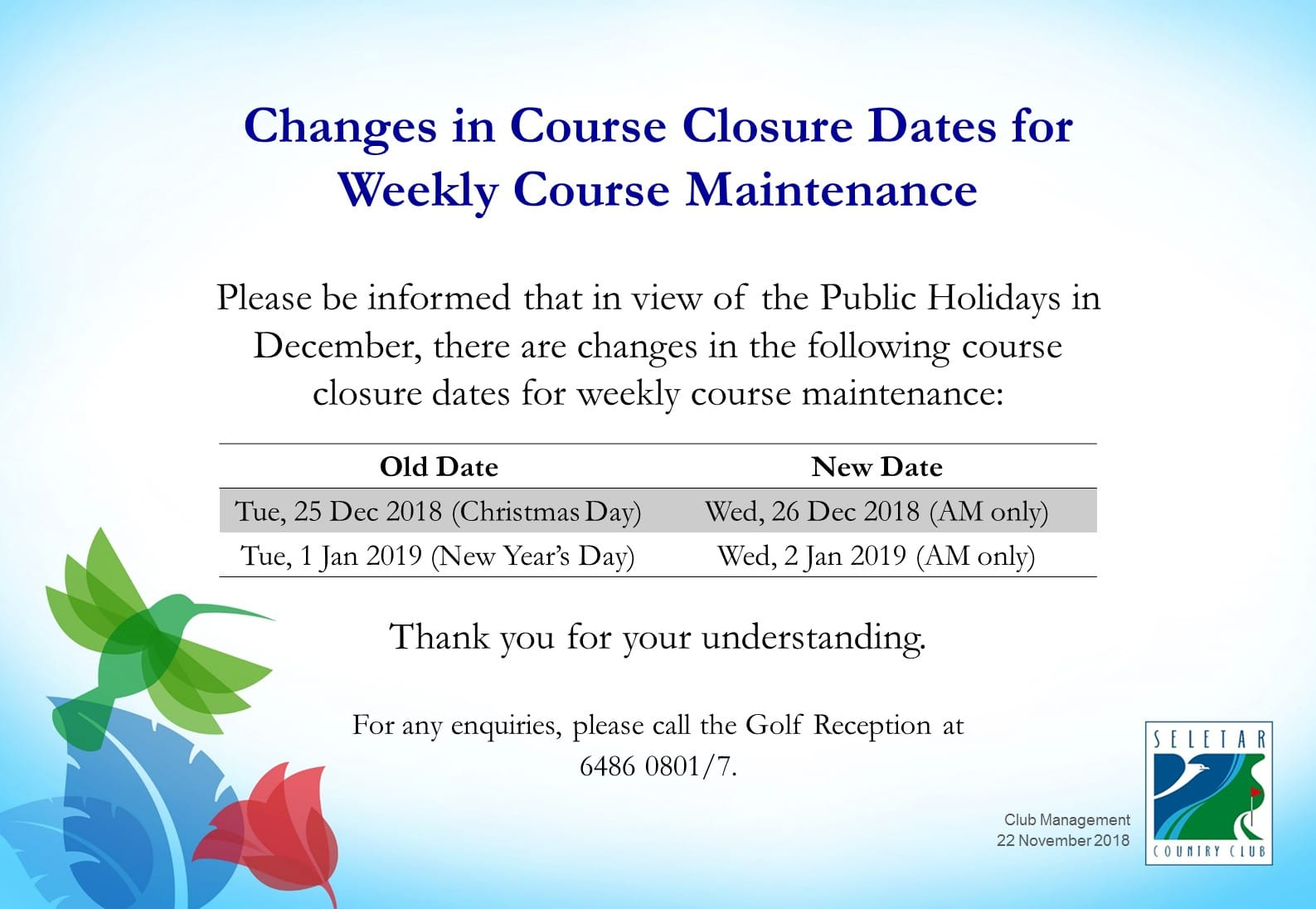 Changes in Dec's Weekly course maintenance dates_R2