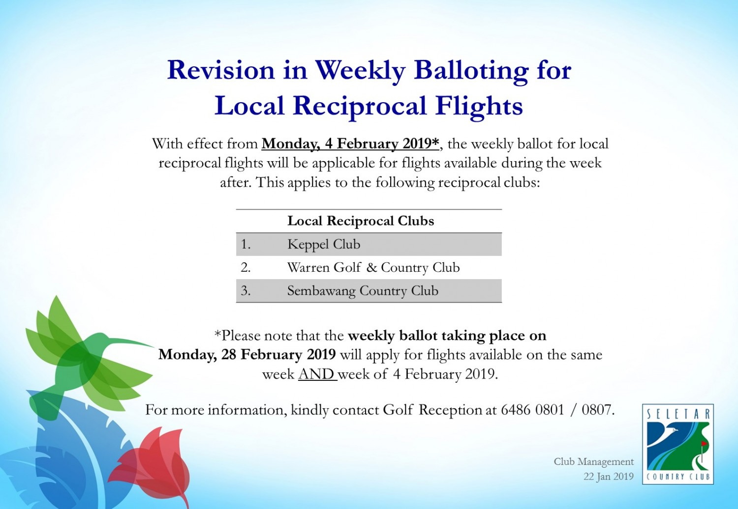 Revision in Weekly Balloting for Local Reciprocal Flights