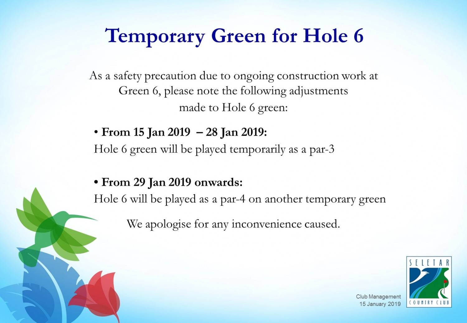 Temporary Green for Hole 6