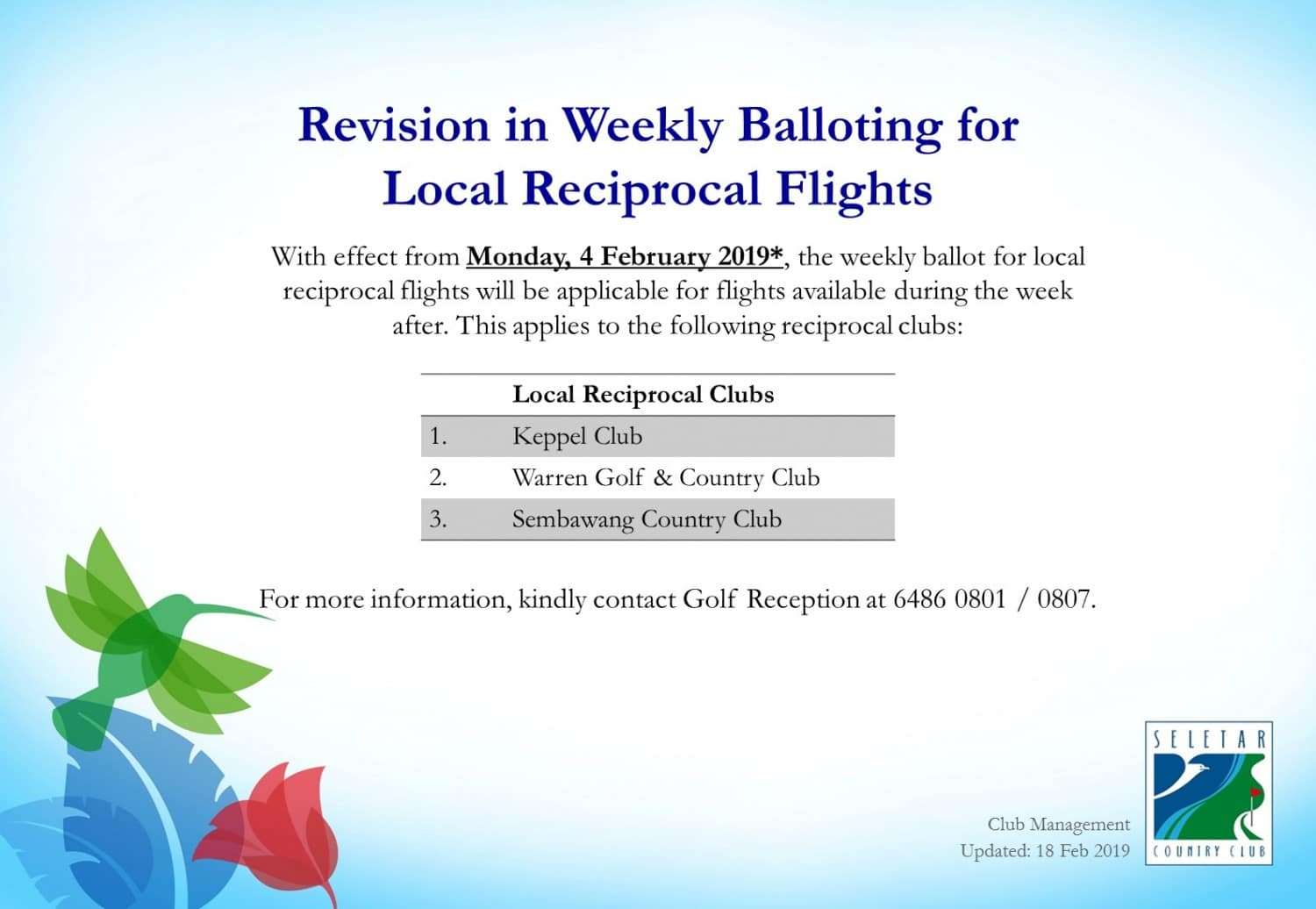 Revision in Weekly Balloting for Local Reciprocal Flights_R2