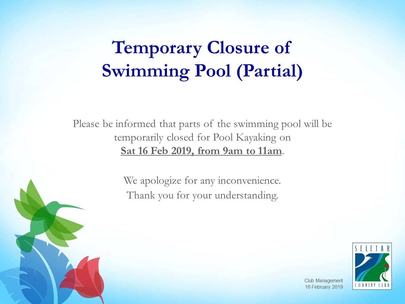 Temporary Closure of Swimming Pool for Pool Kayaking