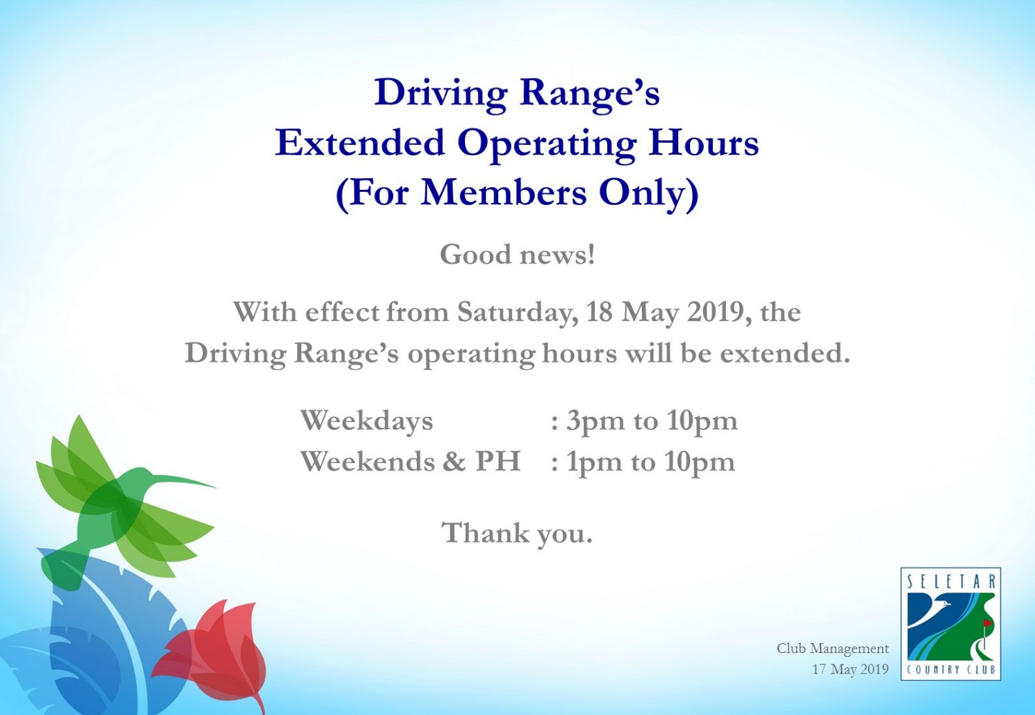 Driving Range Extended Op Hrs