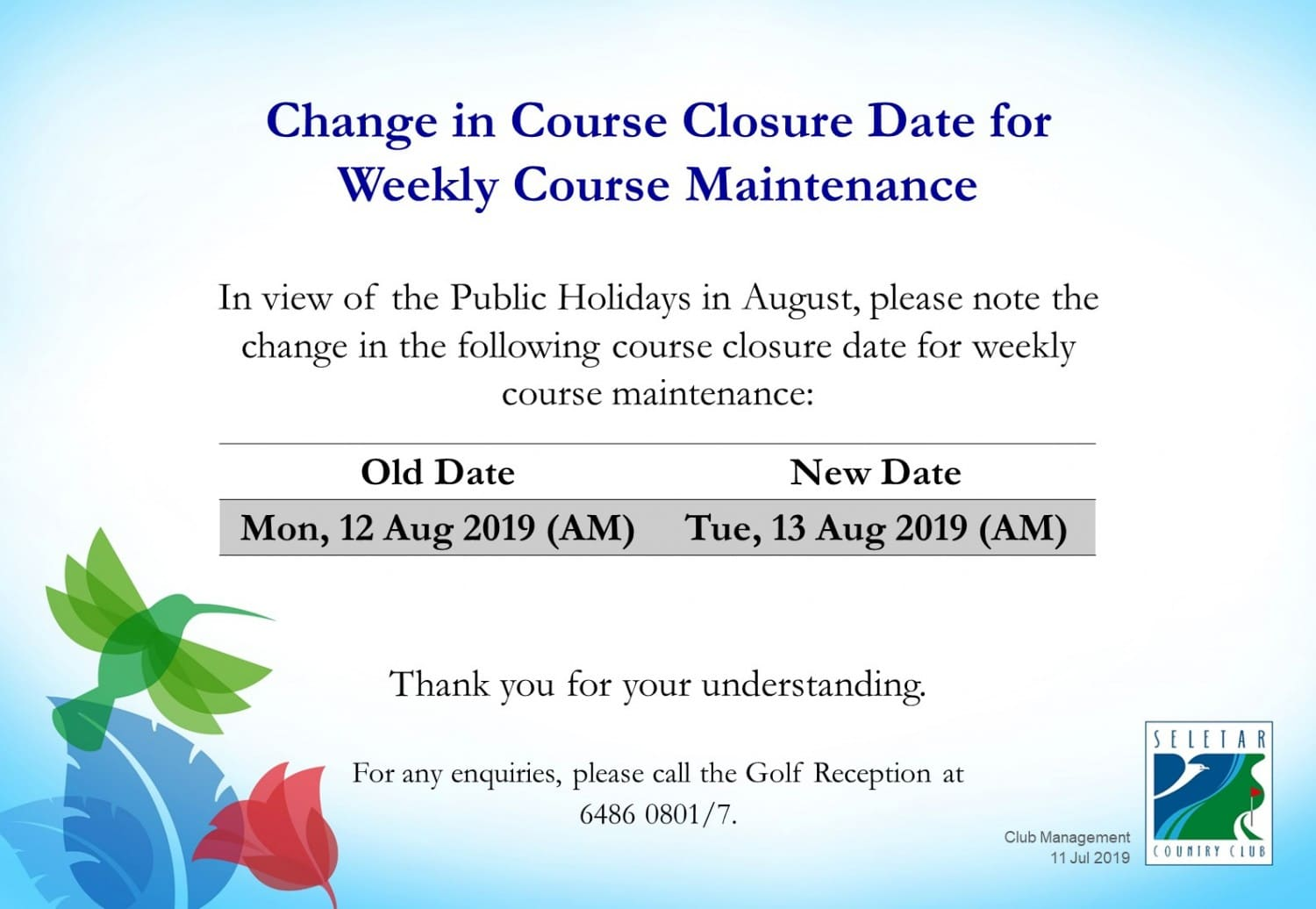 Changes in Aug weekly course maintenance dates