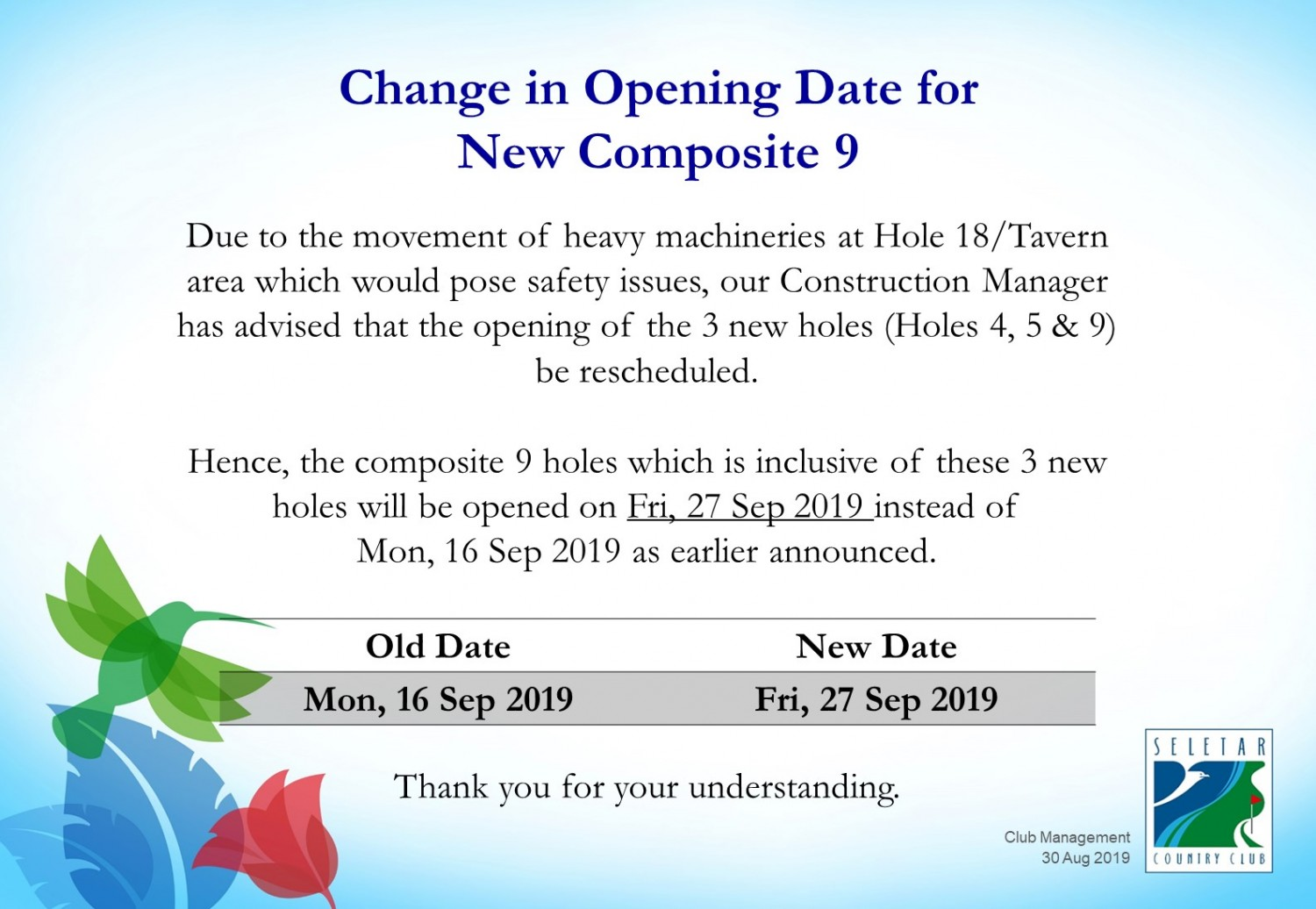 Change in Composite 9 opening date