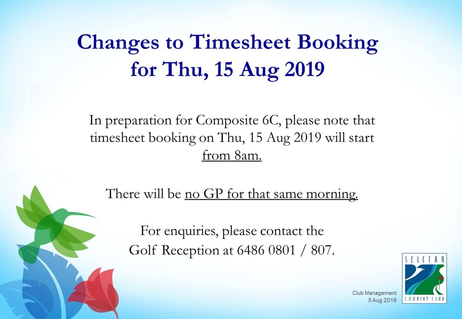 Changes to timesheet booking 15 Aug