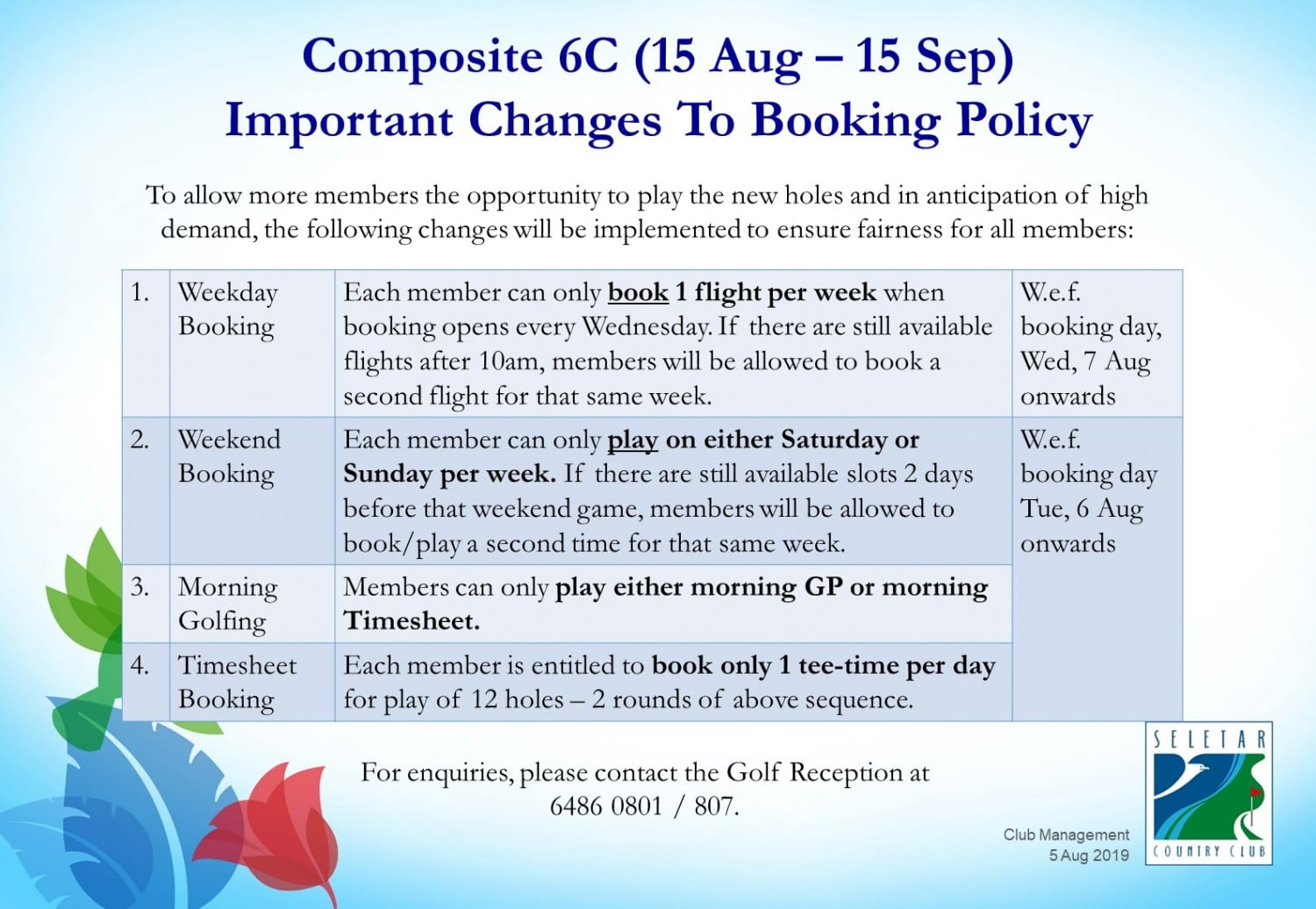 Composite 6C Changes to Booking Policy
