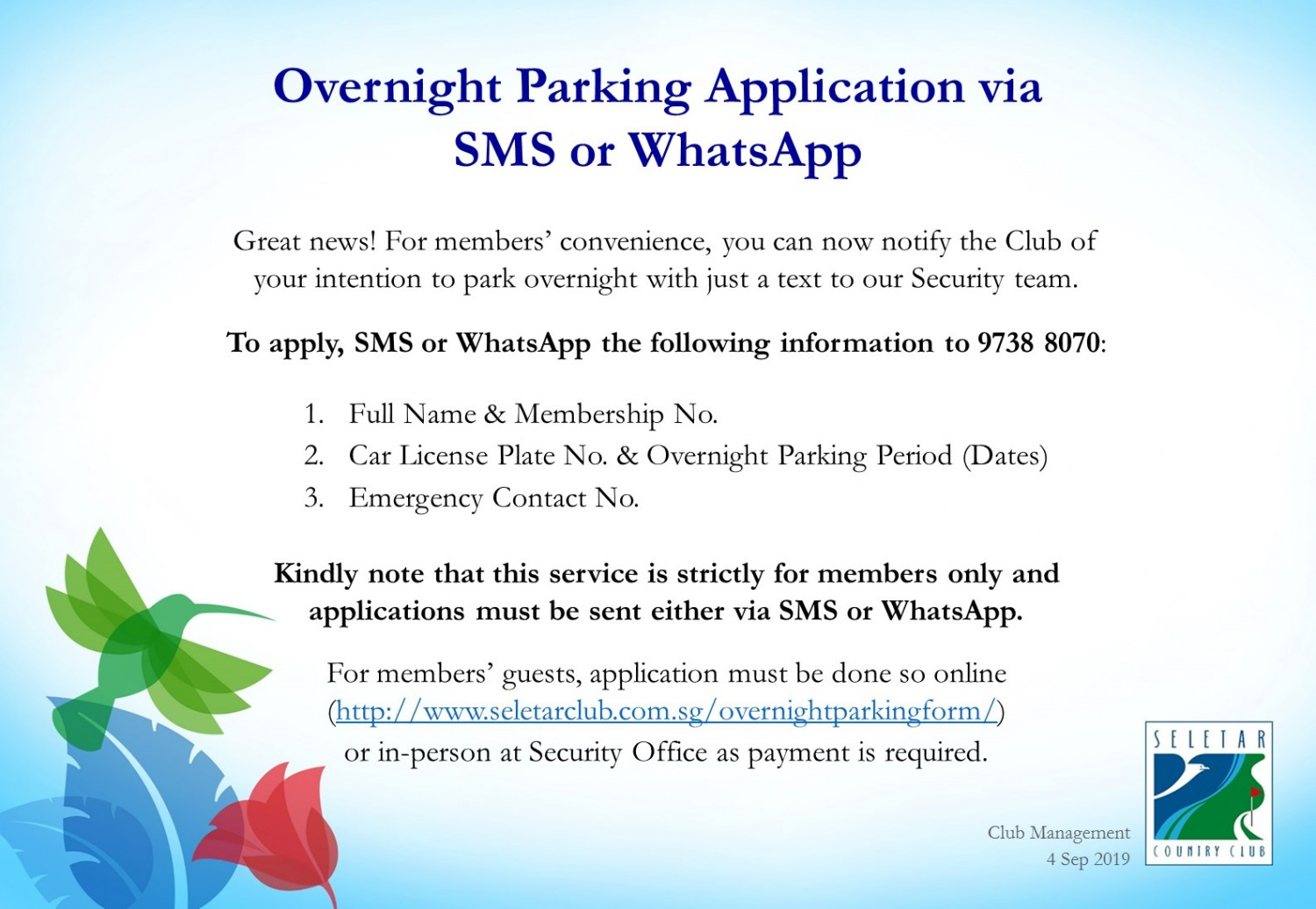 Overnight Parking Application via whatsapp or sms
