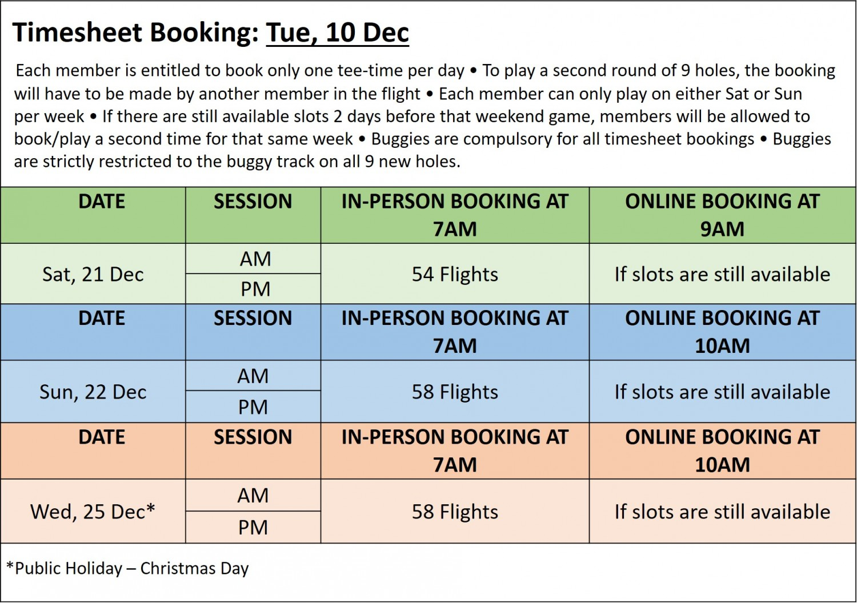 Golf Booking Timesheet 10 Dec