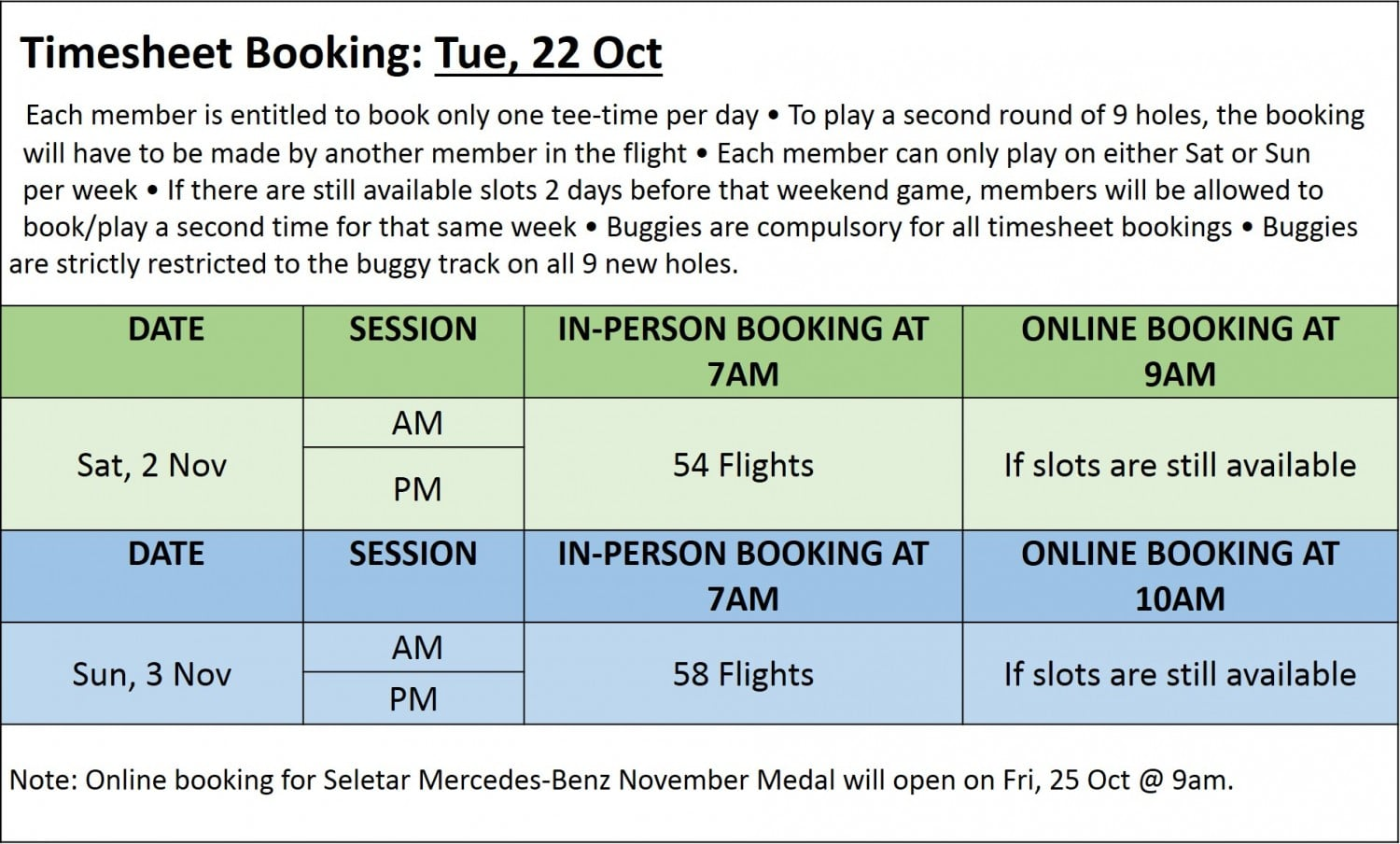 Golf Booking Timesheet 22 Oct