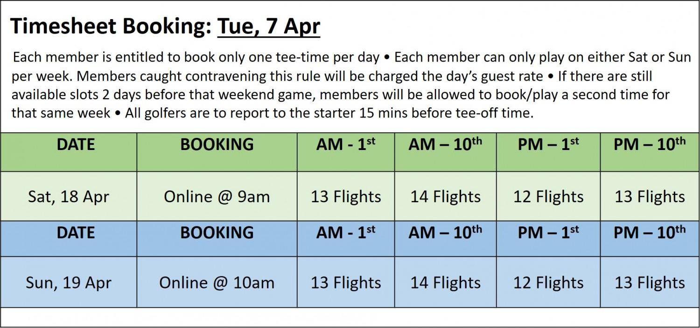 Golf Booking Timesheet 7 Apr