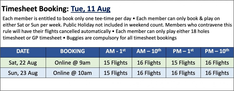 Golf timesheet booking 11 Aug
