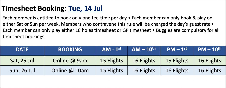 Golf timesheet booking 14 Jul