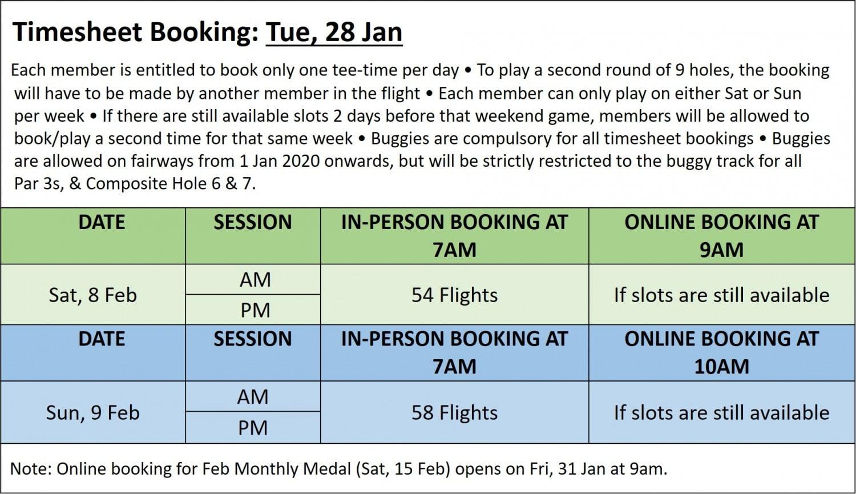 Golf timesheet booking 28 Jan