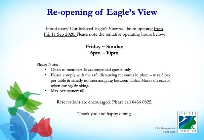 Reopening of EV