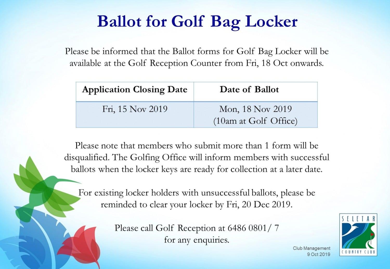 Ballot for golf bag locker