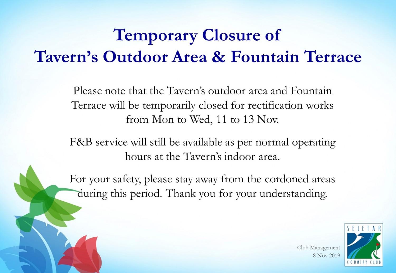 Temporary closure of Tavern's outdoor area_V2