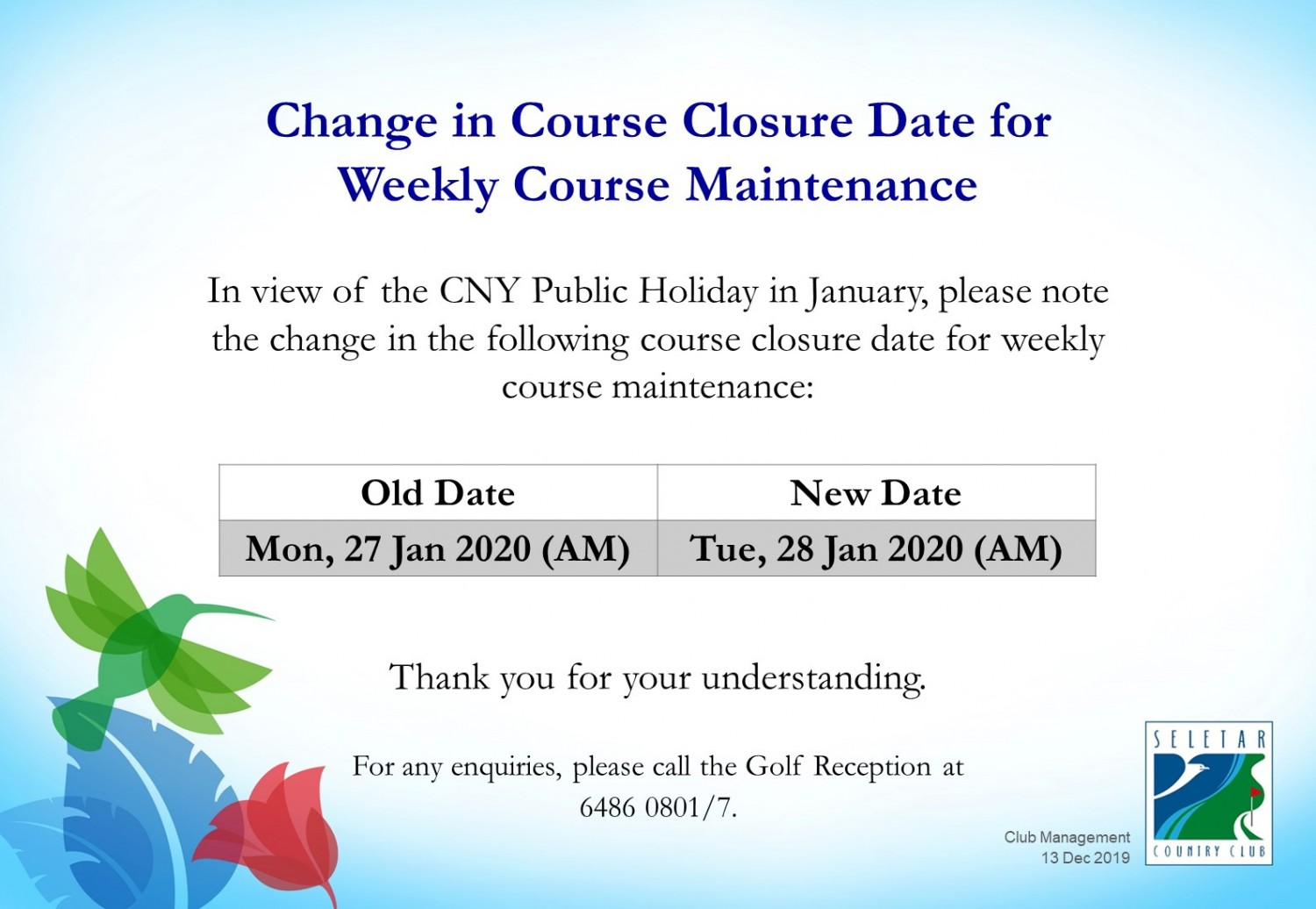 Changes in Jan course maintenance date