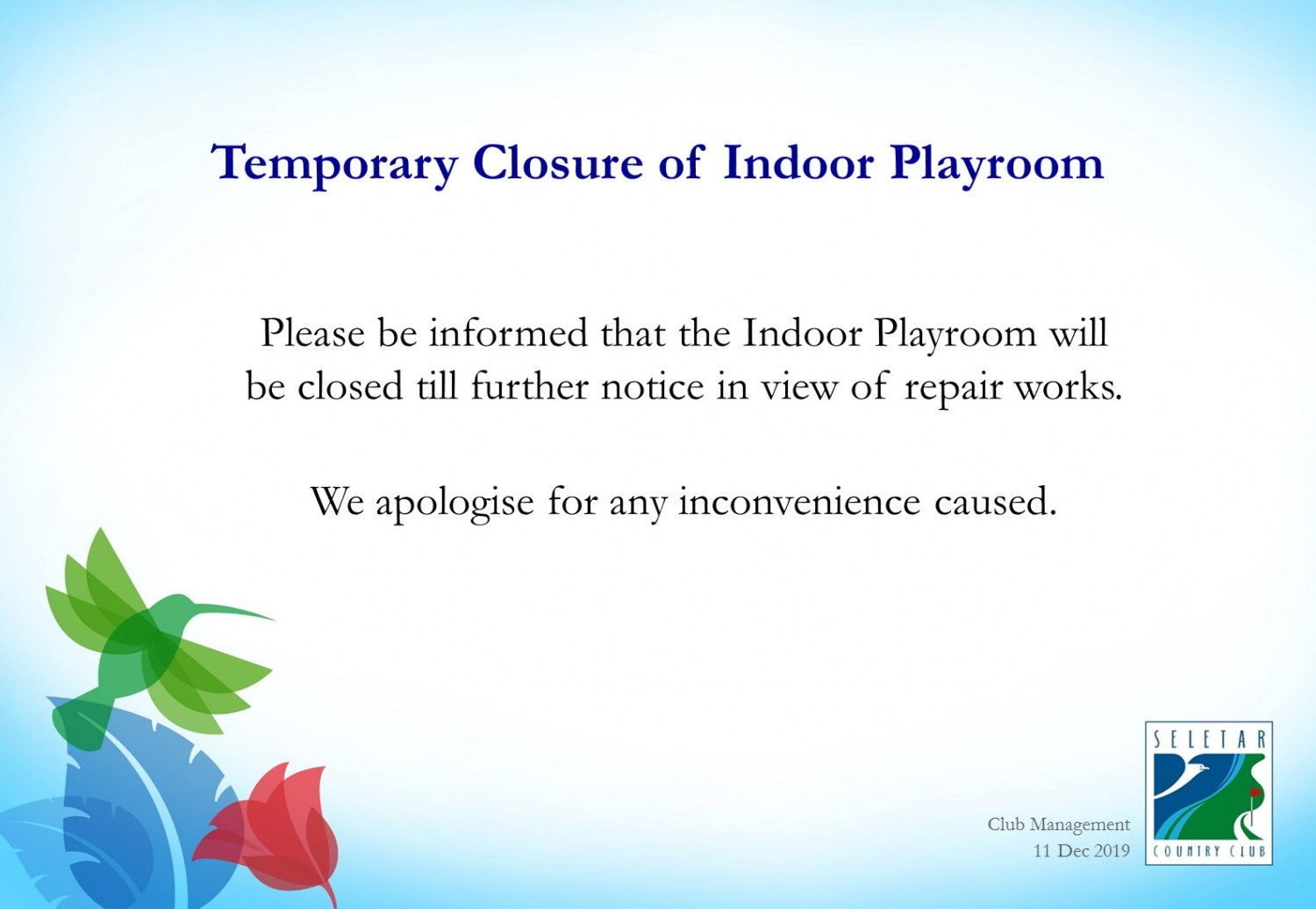 Temporary closure of indoor playroom_Dec2019