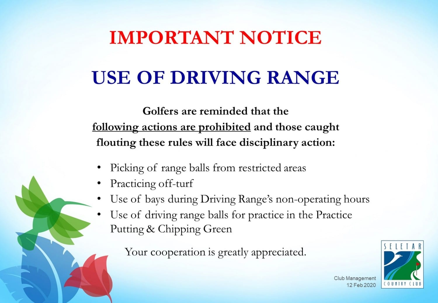 Driving Range_Prohibited actions_Feb2020