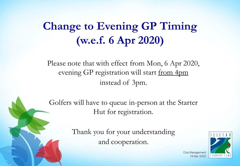 Change to Evening GP