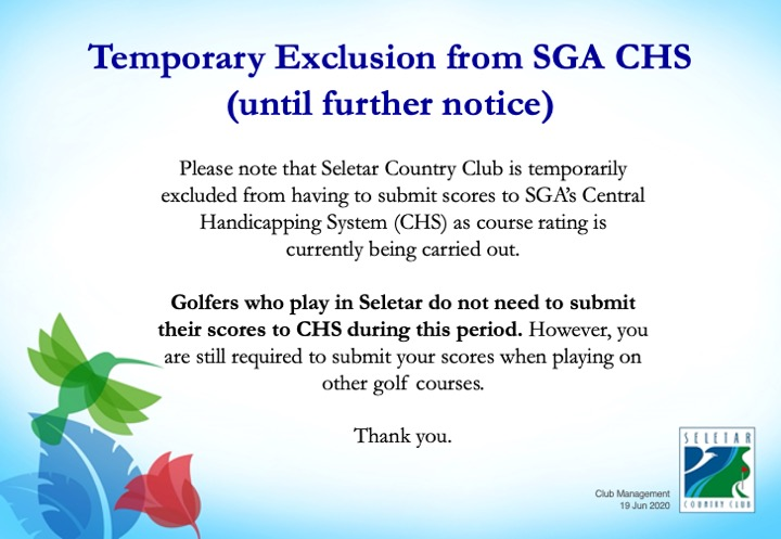 Temporary Exclusion from SGA CHS_until further notice