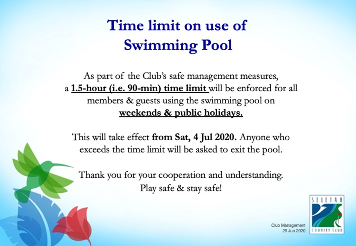 Time limit swimming pool
