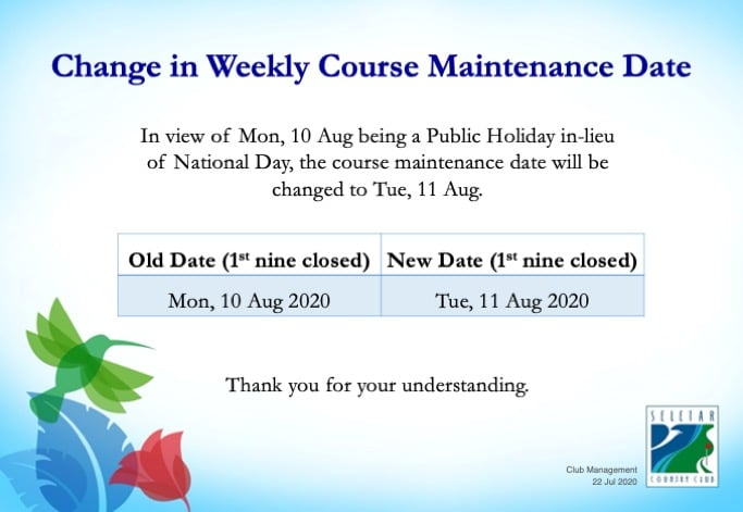 Change in weekly course maintenance date (Aug)
