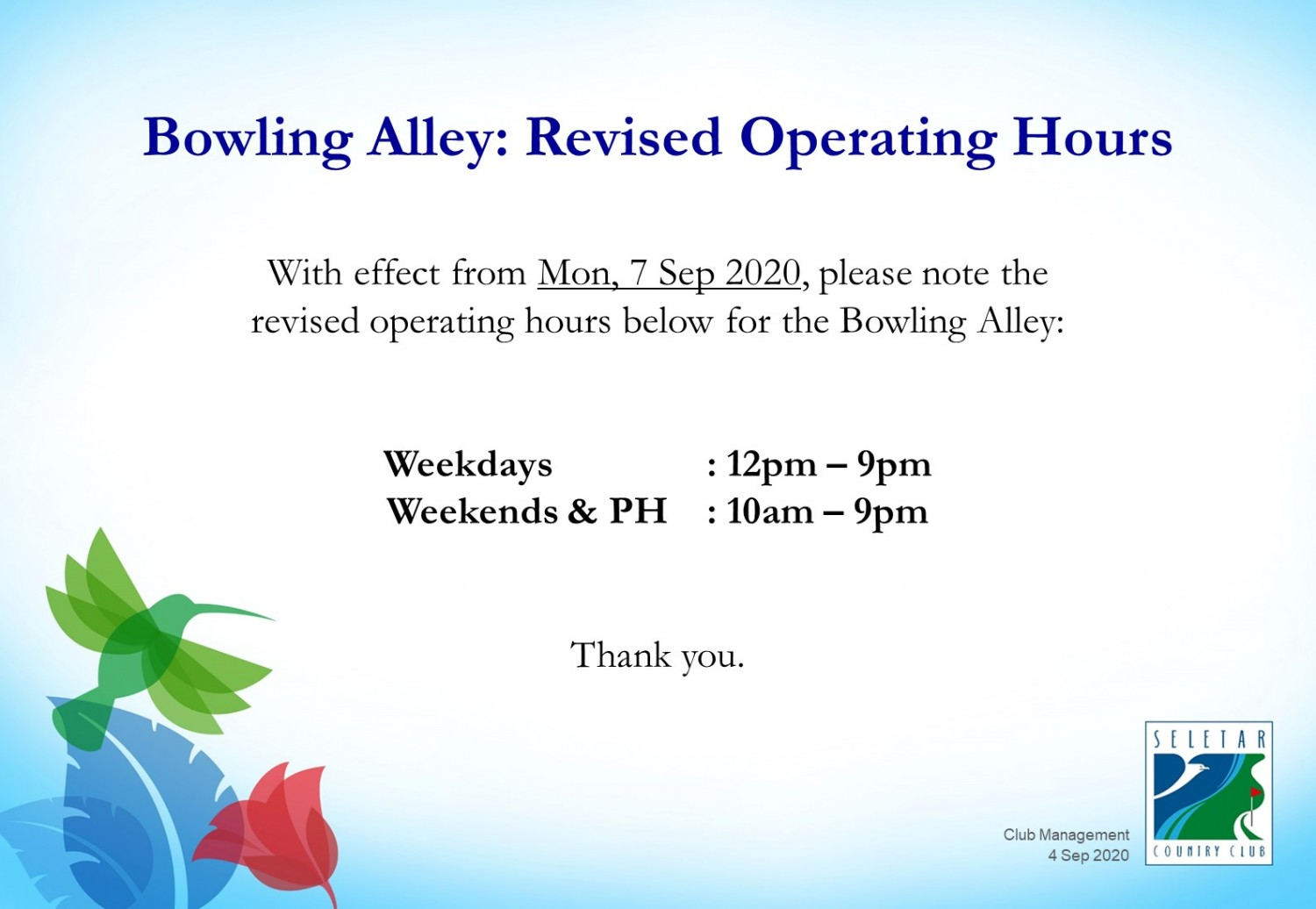 Bowling Revised Op Hours