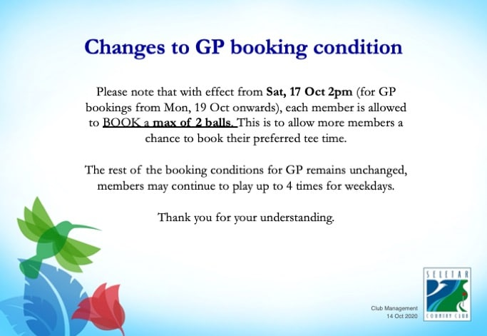 Change to GP booking condition