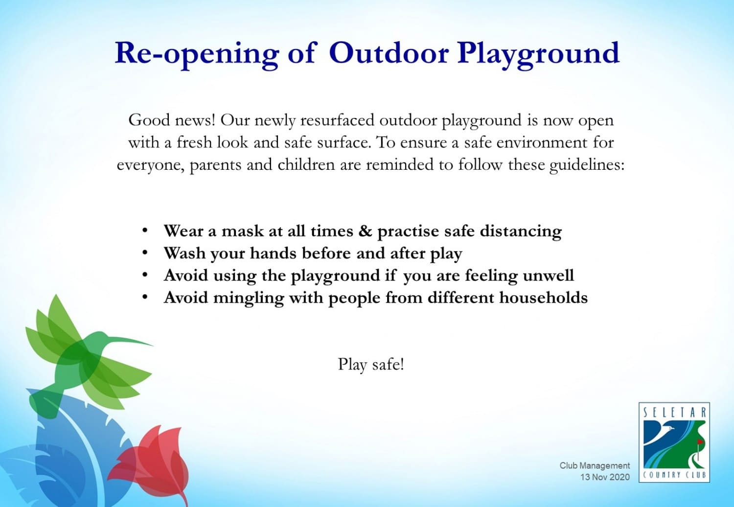Reopening of outdoor playground