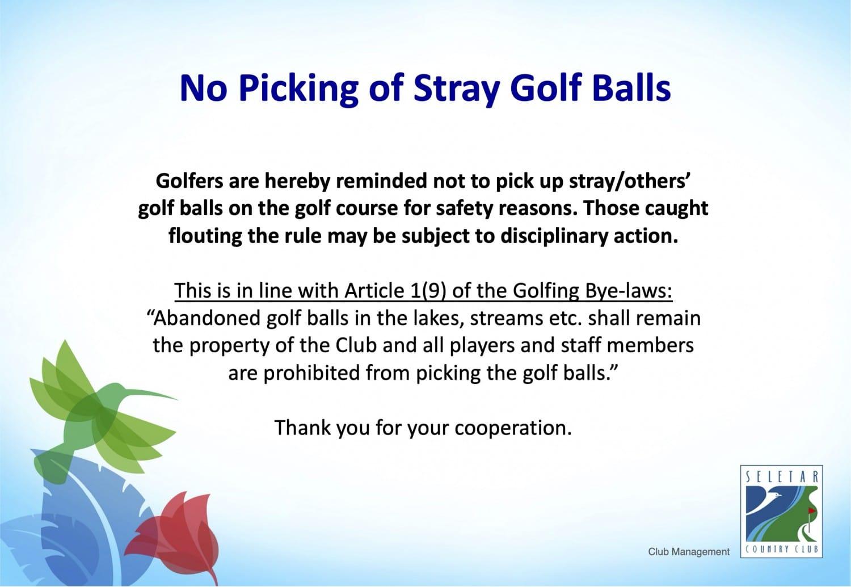 No picking golf balls