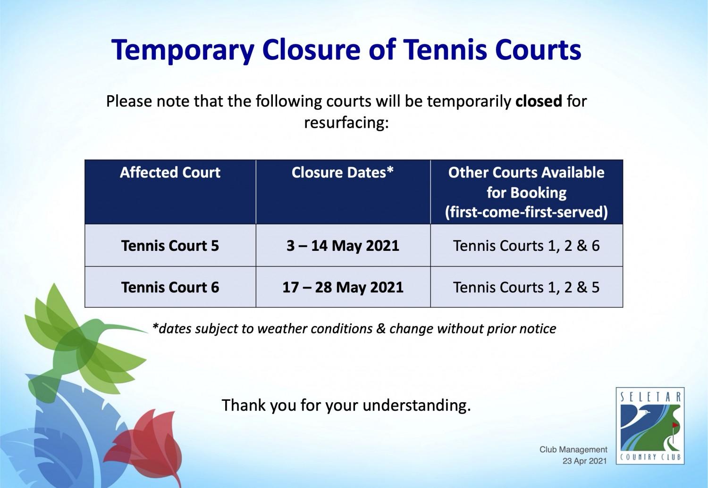 Closure of tennis courts_23Apr