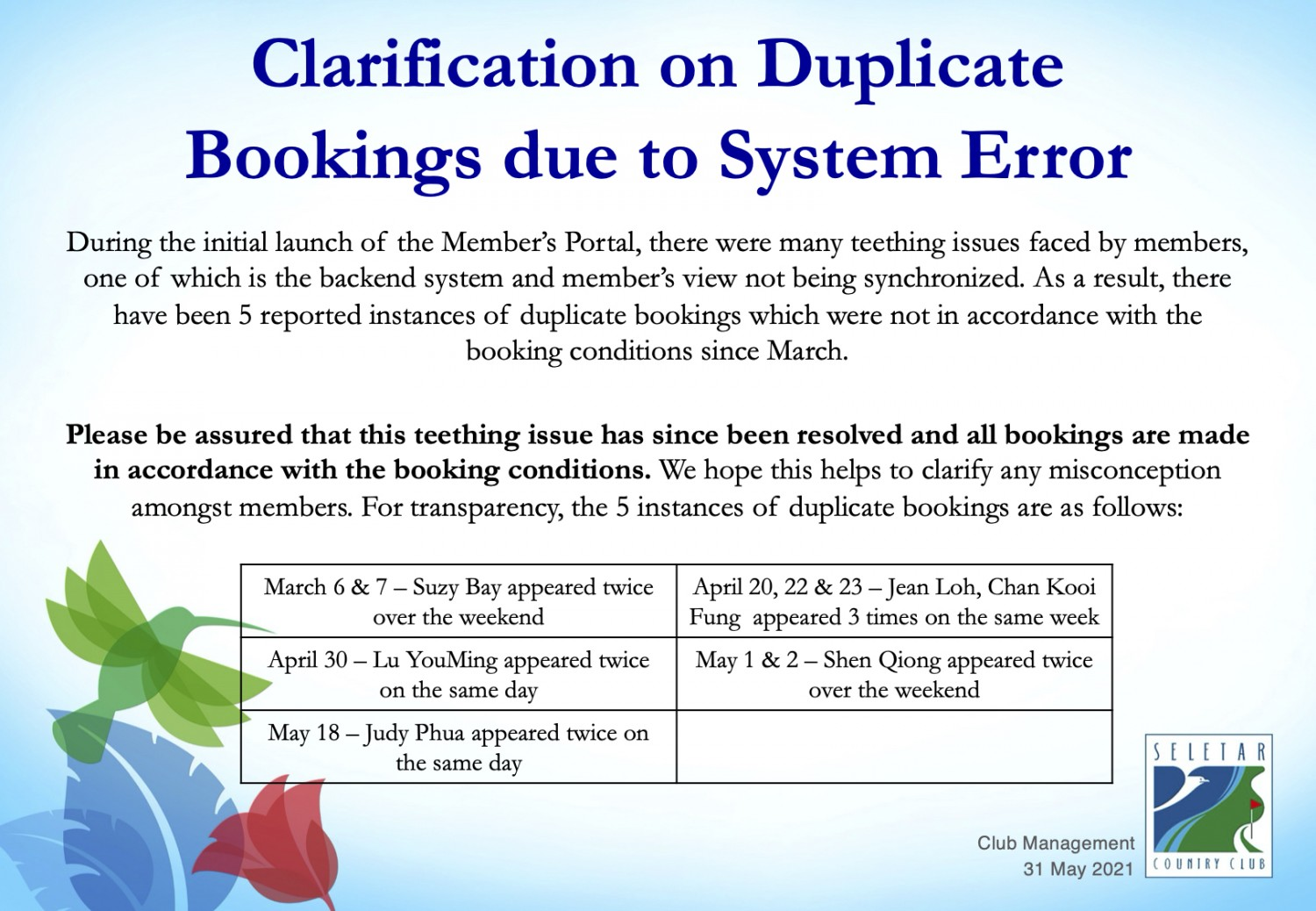 20210531_Clarification on Duplicate Bookings